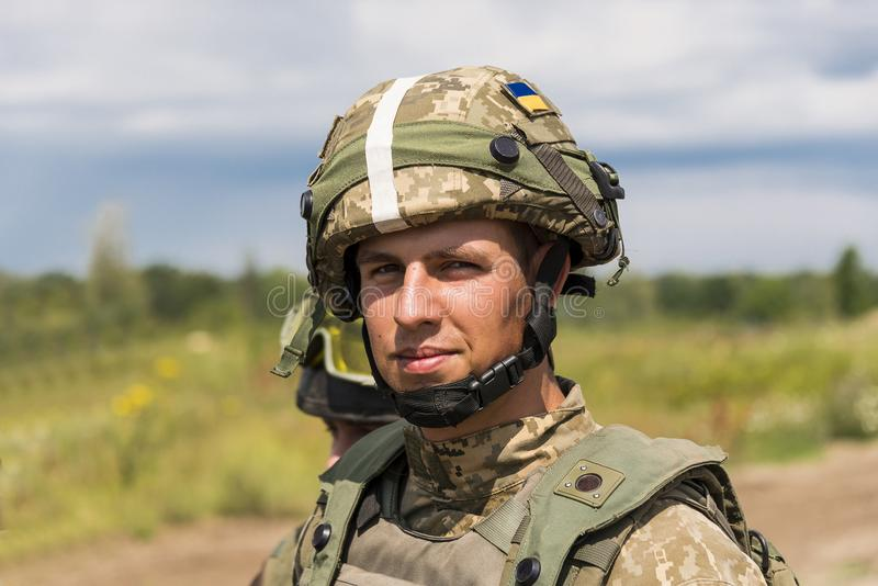 Restos ucranianos del comando después de la lucha de entrenamiento foto de archivo