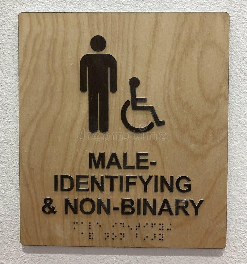 Restraumzeichen für männliche und nichtbinäre Identifizierung lizenzfreie stockfotografie