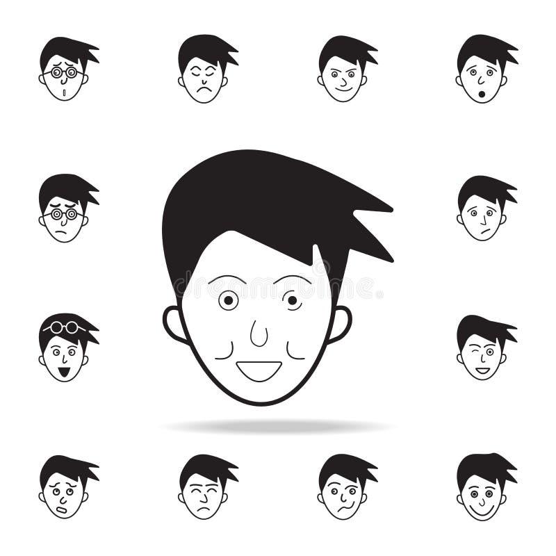 restricción en icono de la cara Sistema detallado de iconos faciales de las emociones Diseño gráfico superior Uno de los iconos d libre illustration