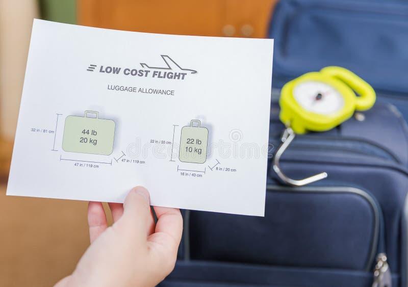 Restricciones del equipaje de las líneas aéreas del bajo costo imagen de archivo