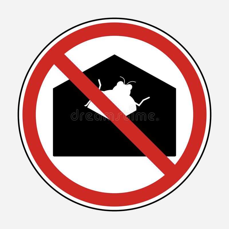 Restrict sign no malware virus email attachment file. Prohibit s royalty free illustration