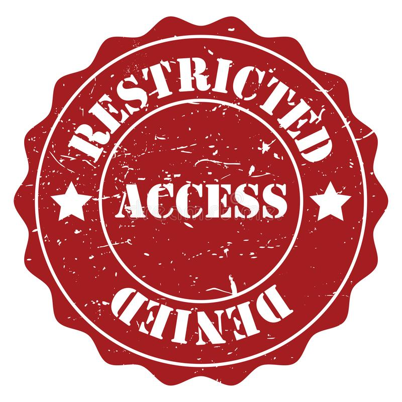 Restricted access. Wax seal style illustration of the text 'restricted access royalty free illustration