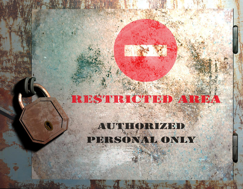 Restricted area. A metallic door with a no-enty sign and the text Restricted Area-Authorized personal only. This image can be used at the entrance of a program vector illustration