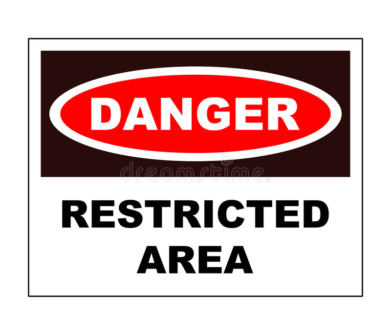 Restricted area. A restricted area danger sign stock illustration