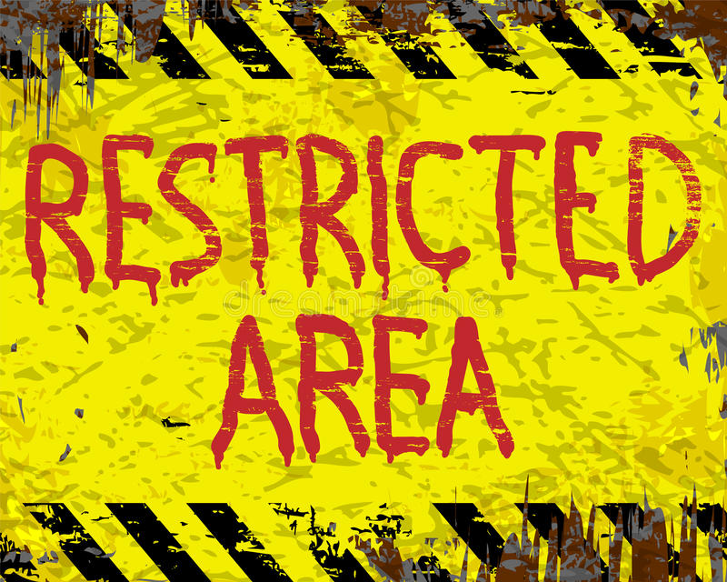 Restricted Area Enamel Sign. Restricted area painted grungy enamel metal sign stock illustration