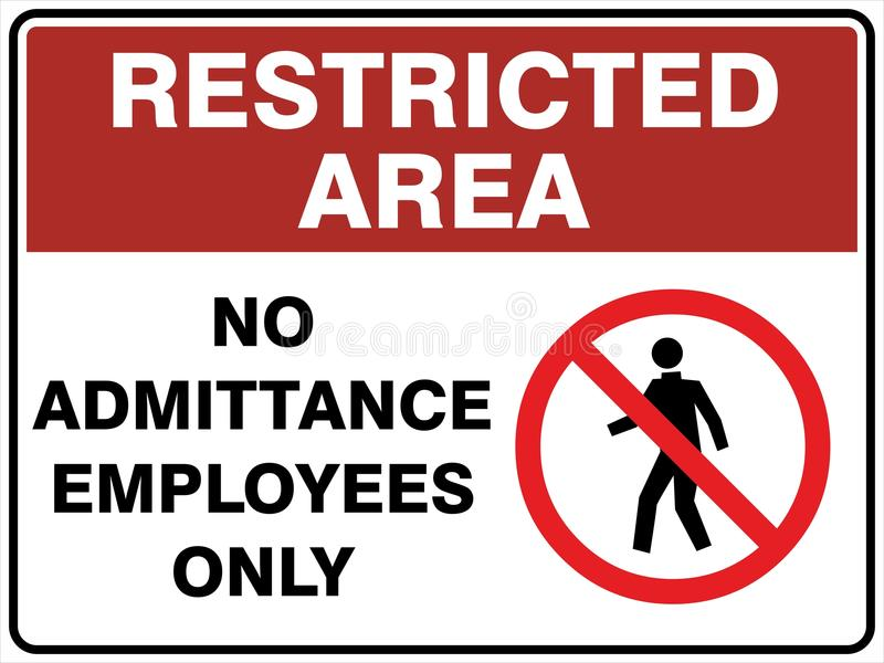 Restricted Area - No Admittance - Employees Only. Restricted Area Sign - No Admittance - Employees Only - Australian Version vector illustration