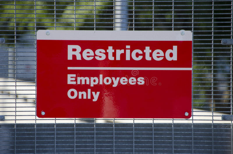 Restricted Area Sign stock image