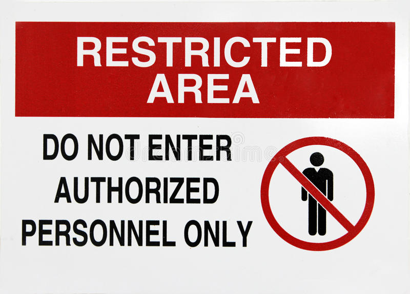 Restricted area sign. Red and white restricted area sign royalty free stock photos