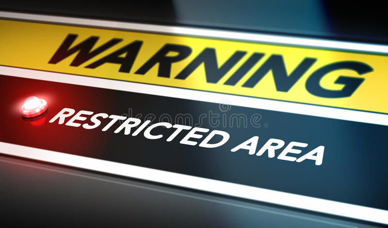 Restricted Area Sign. Security concept. Control panel with red light, warning and restricted area text. Conceptual image symbol of private access royalty free illustration