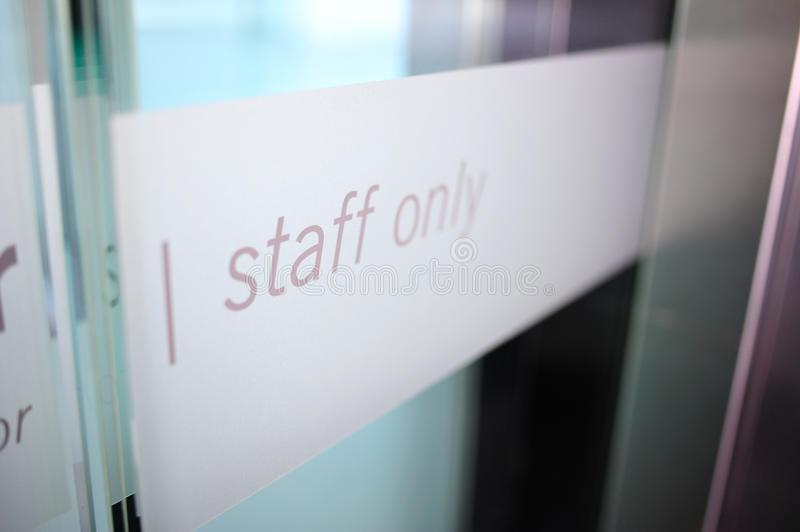Staff only area stock image