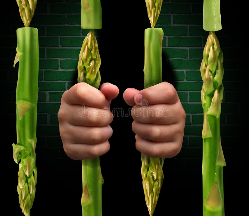 Restricted Diet. And calorie restriction food concept with prison bars made of asparagus vegetables and hands of a prisoner holding the jail as a dieting vector illustration