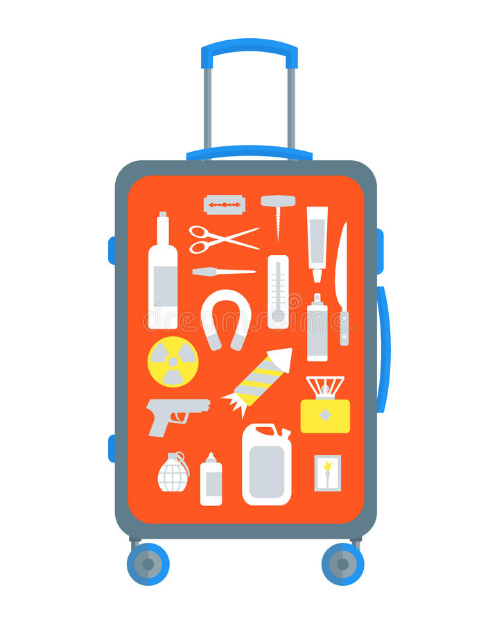 Restricted Items Set in the Suitcase Flat. Vector. Restricted Items Set in the Suitcase Flat Design Style. Vector illustration vector illustration