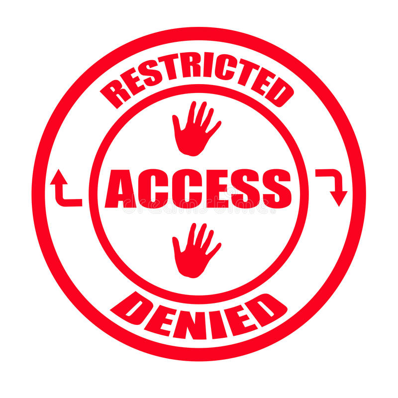 Restricted. Stamp with words restricted, access, denied inside, illustration stock illustration