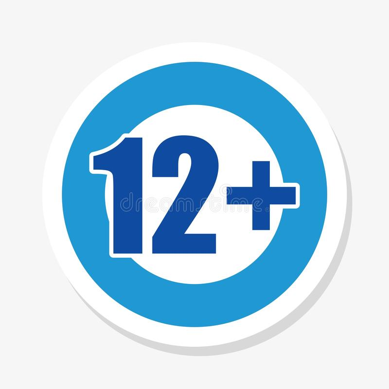 Restriction à l'âge appli de 12+ de téléphone ou icône bleu et blanc de Web illustration stock