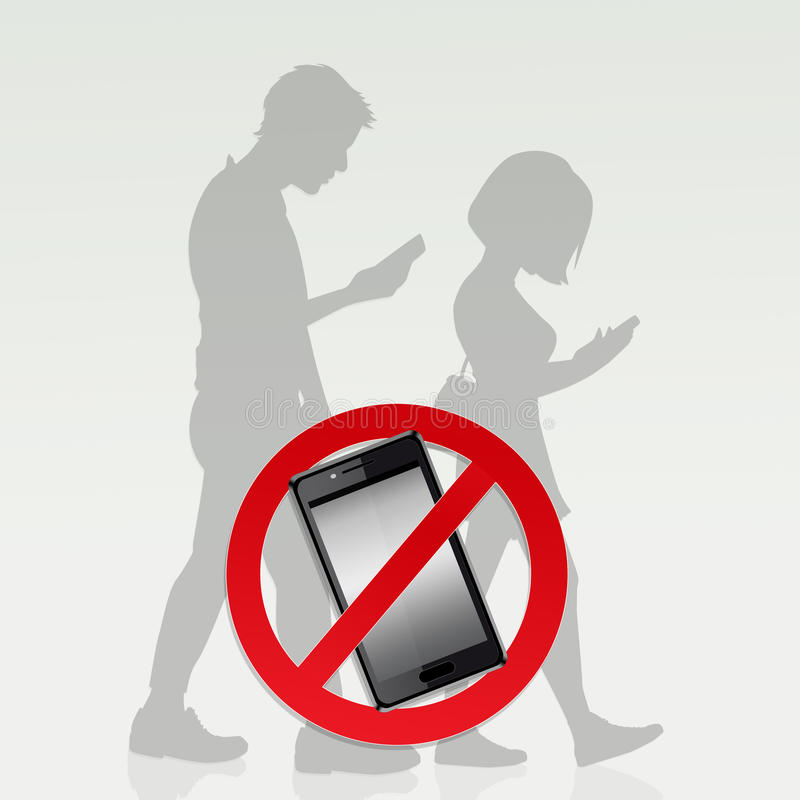 Restrictions on cell phone. Illustration of restrictions on cell phone royalty free illustration