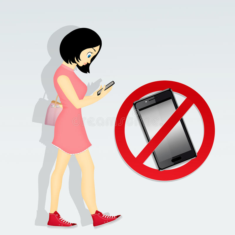 Restrictions on cell phone. Illustration of restrictions on cell phone vector illustration