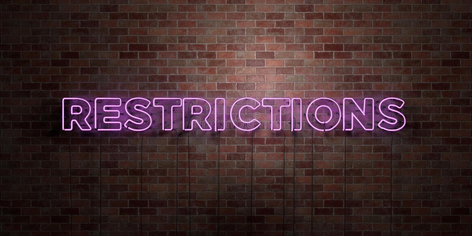 RESTRICTIONS - fluorescent Neon tube Sign on brickwork - Front view - 3D rendered royalty free stock picture. Can be used for online banner ads and direct vector illustration