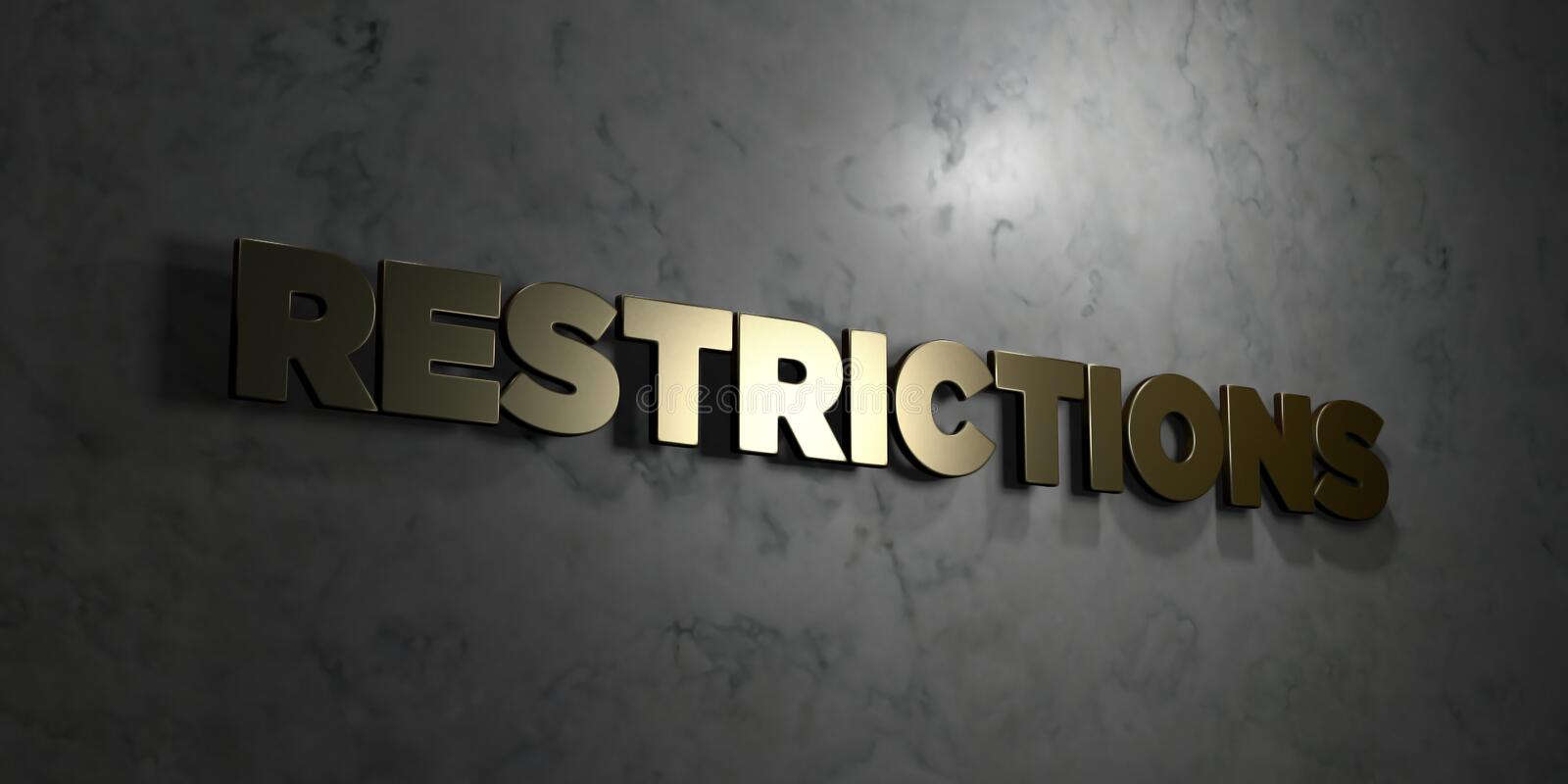 Restrictions - Gold text on black background - 3D rendered royalty free stock picture. This image can be used for an online website banner ad or a print vector illustration