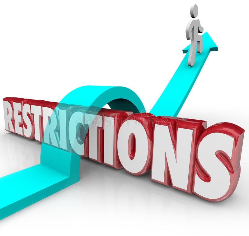 Restrictions Word Arrow Jumping Over Rules Regulations Overcoming Limitations. Restrictions 3d word and arrow jumping over it with a person or man avoiding or royalty free illustration