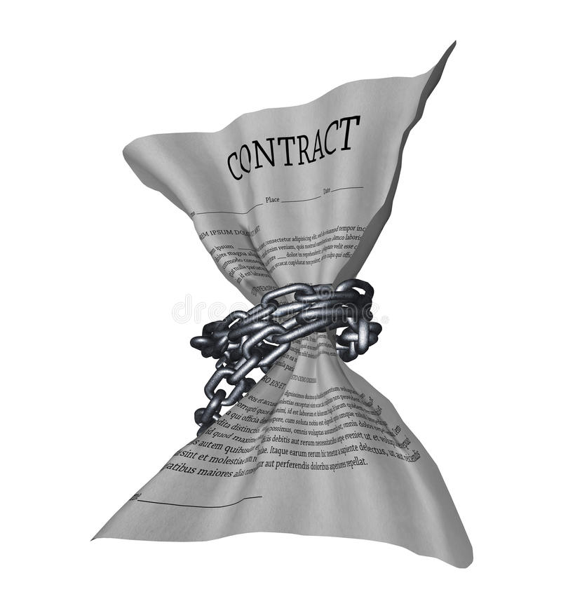 Restrictive contract. A contract document bound in chains stock illustration