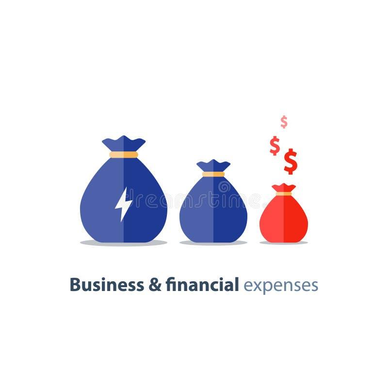 Restringimento finanziario, svalutazione di affari, disavanzo del bilancio, spese corporative, reddito che si abbassa, icona di v illustrazione di stock