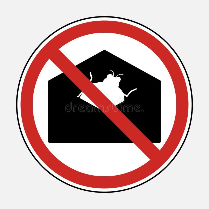 Restrinja o sinal nenhum arquivo do acessório do email do vírus do malware Proiba s ilustração royalty free