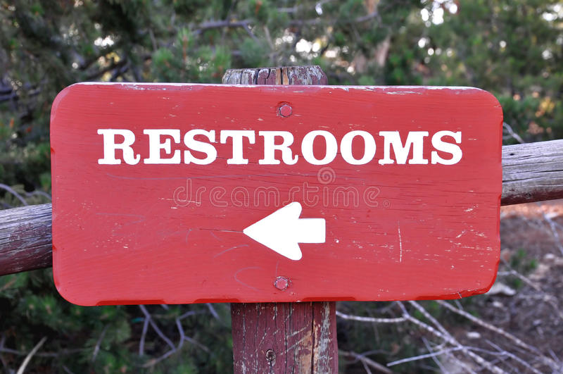 Restroom board stock photo