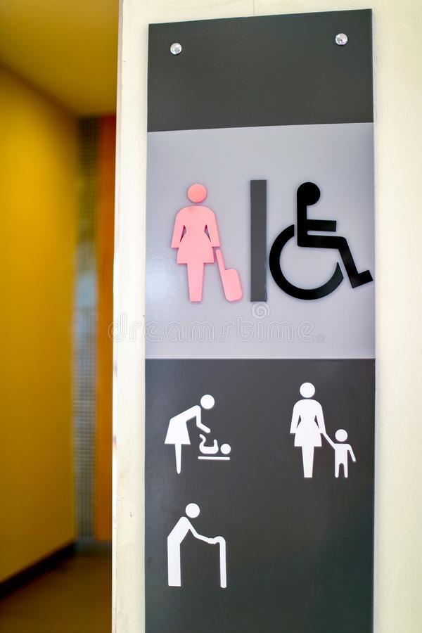 Restroom female and cripple public sing bathroom at airport,Thailand stock images