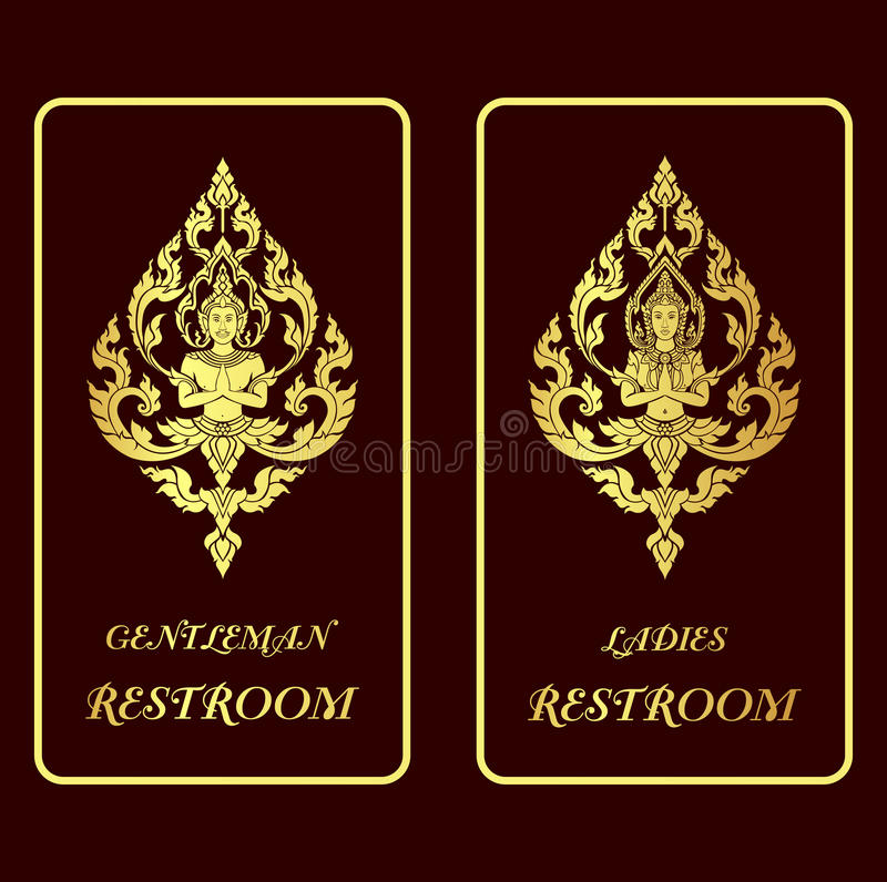 Restroom golden signs royalty free illustration