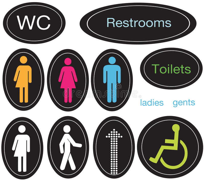 Restroom Icons stock illustration