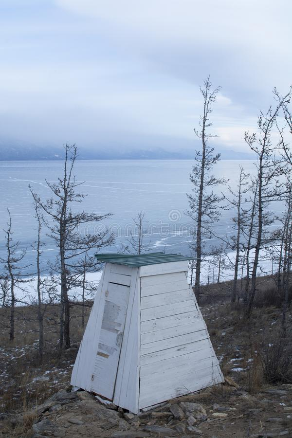 Restroom on island in Baikal Lake, Russia, landscape photography royalty free stock images