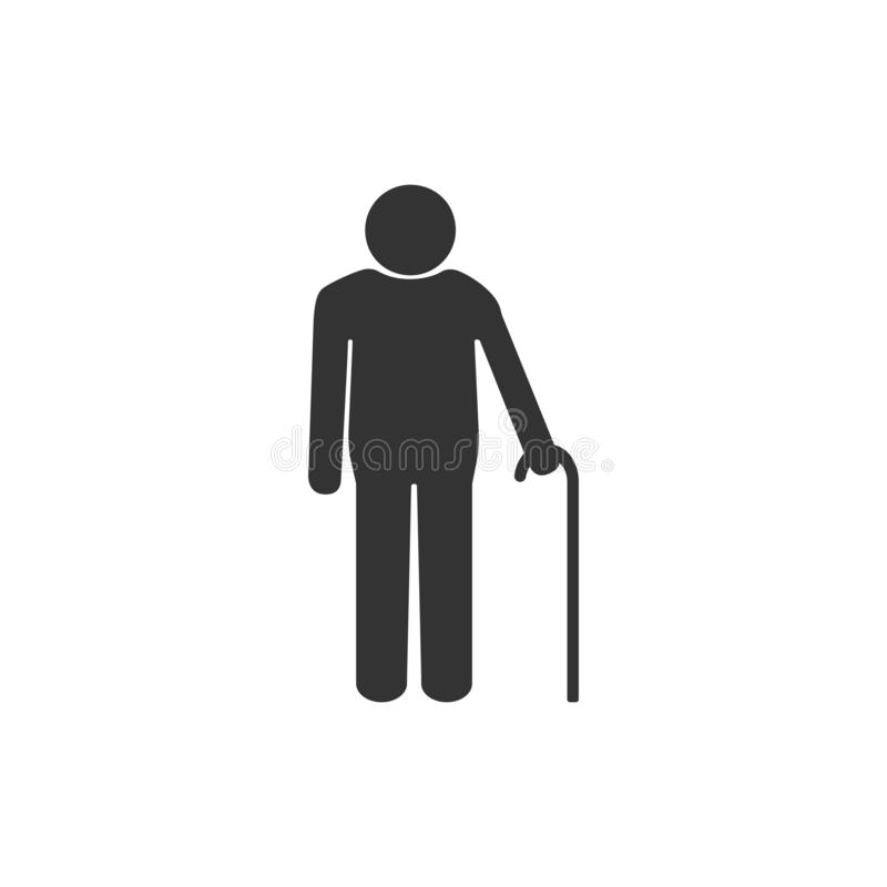 Standing old man silhouette with a walking stick, restroom sign. Black on white background. Flat design. Vector. Restroom sign. Black on white background. Flat vector illustration