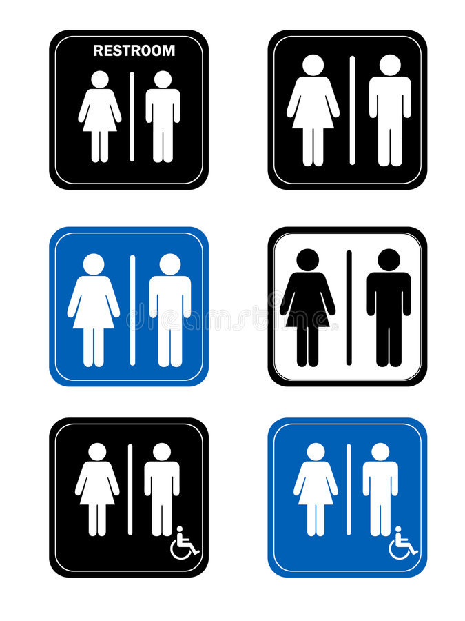 Free Restroom Signs With Men And Women Handicap Washro Royalty Free Stock Photo - 7546805