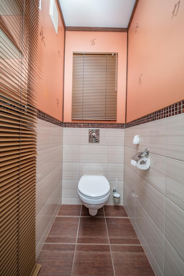 Restroom with toilet. Toilet bowl in the bathroom. Restroom with brown tile decoration royalty free stock photos