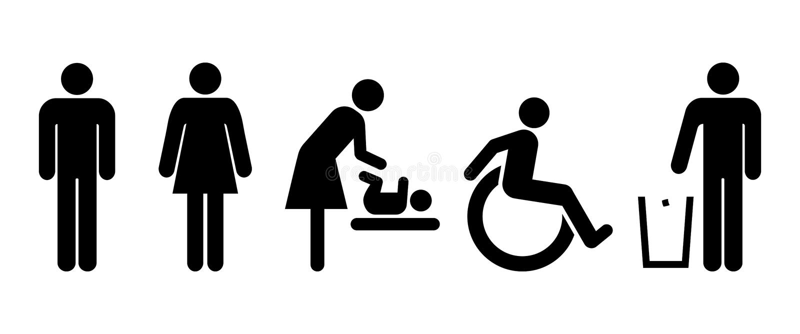 Restroom universal set of signs. Lavatory signs, toilet symbol signs, wc icons royalty free illustration