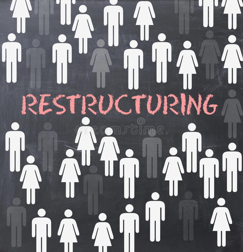 Restructuring process concept on blackboard. With white human silhouettes royalty free stock photos
