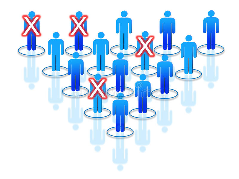 Restructuring process within organization or company. With blue human silhouettes royalty free illustration