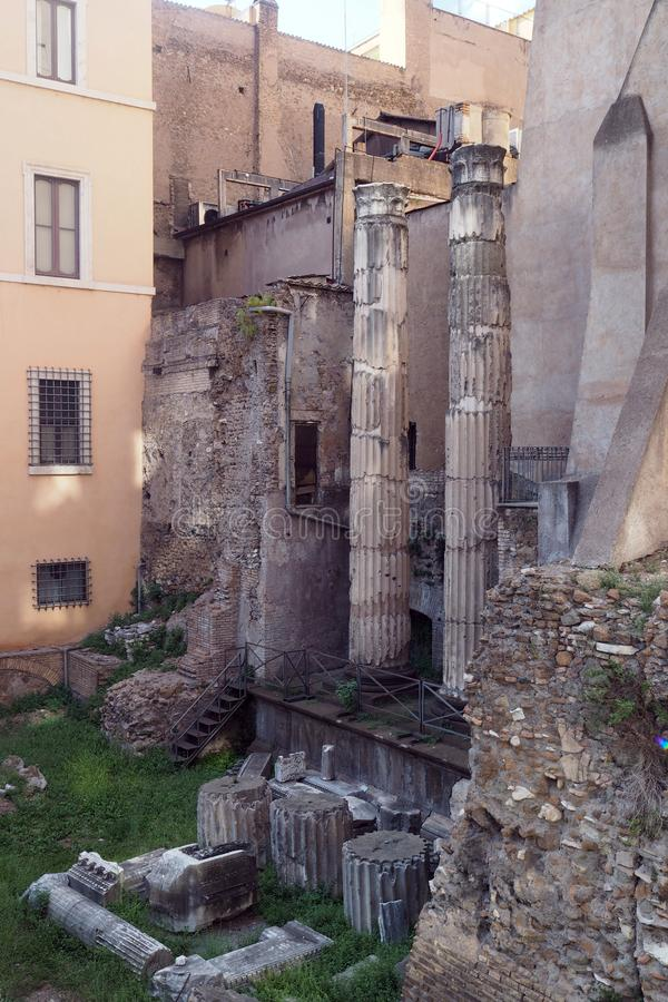 Rests of the Theatre of Balbus in Rome, Italy. Rests of the Theatre of Balbus  in the city center in Rome, Italy. It was built in 13 BC by proconsul Lucius stock images