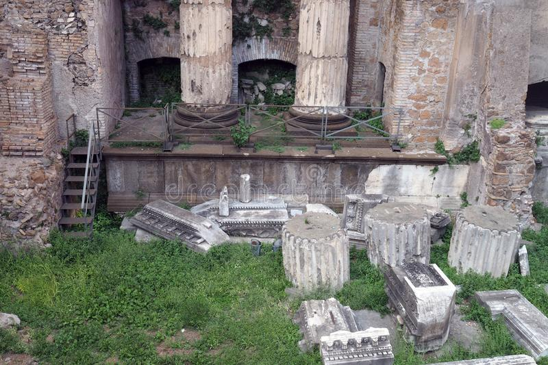 Rests of the Theatre of Balbus in Rome, Italy. Rests of the Theatre of Balbus  in the city center in Rome, Italy. It was built in 13 BC by proconsul Lucius royalty free stock photos