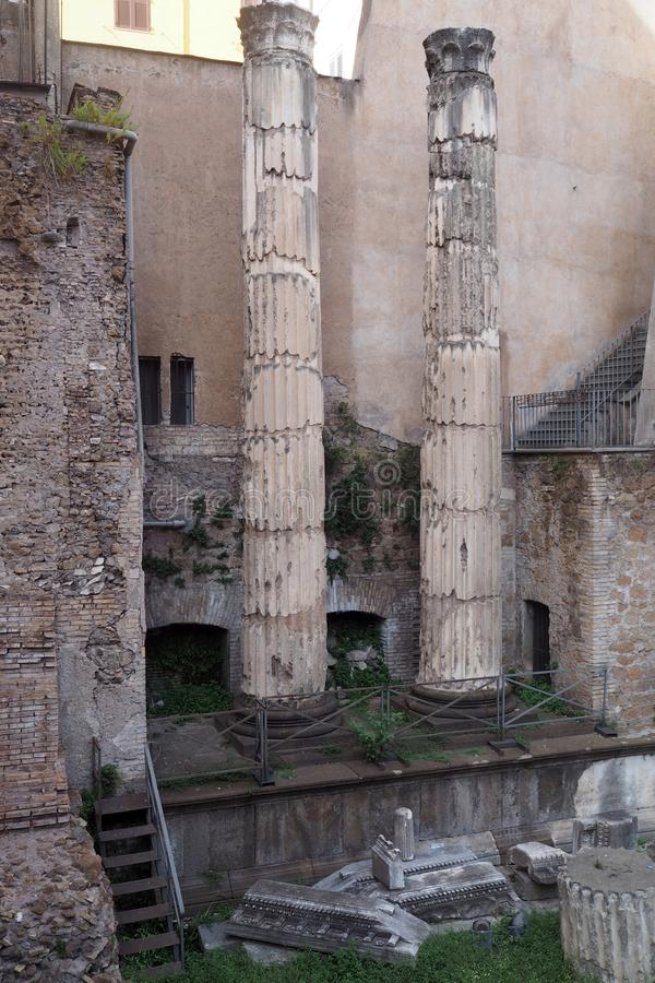 Rests of the Theatre of Balbus in Rome, Italy. Rests of the Theatre of Balbus  in the city center in Rome, Italy. It was built in 13 BC by proconsul Lucius royalty free stock photography