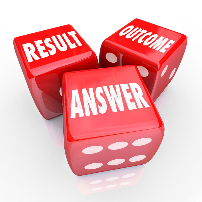 Result Outcome Answer Three Red Dice Decision Judgement royalty free illustration