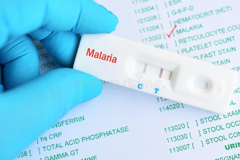 Resultaat van de malaria het positieve test stock foto's
