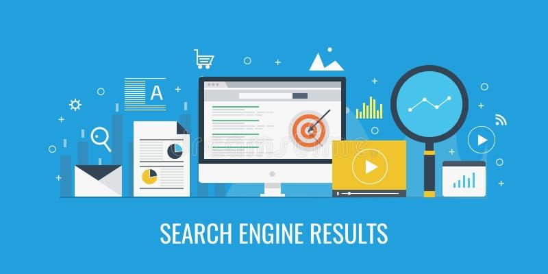 Resultado que exhibe en una pantalla de ordenador, Serp, concepto del Search Engine de la graduación del Search Engine Bandera pl libre illustration