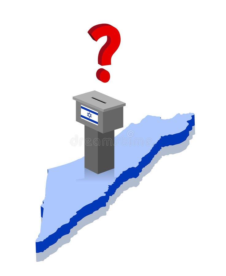 Resultados de elección israelíes con el signo de interrogación y la caja de votación sobre el mapa 3D de Israel ilustración del vector