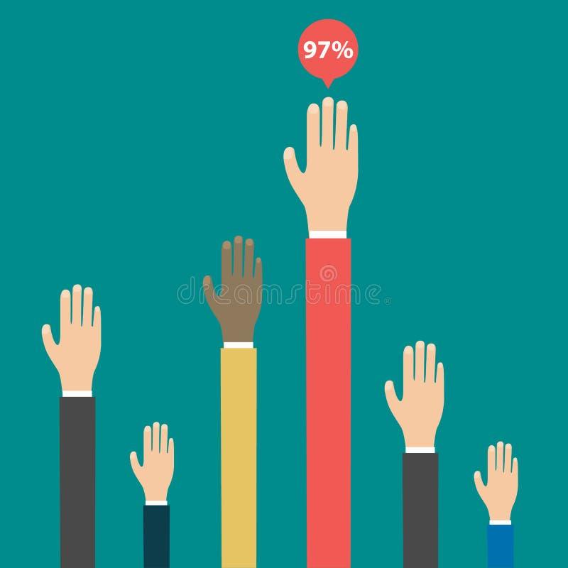 Resultados de elecciones de votación Manos levantadas para arriba Elementos de Infographics Vector stock de ilustración