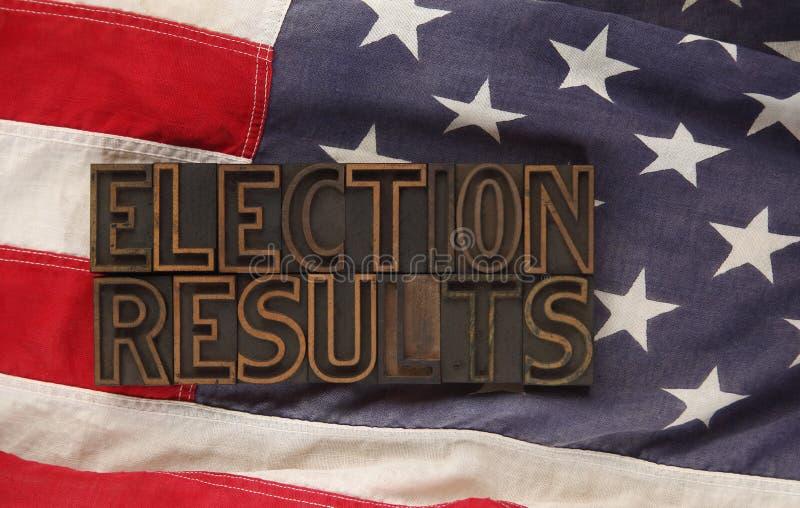 Resultados de eleição na bandeira dos EUA fotografia de stock royalty free