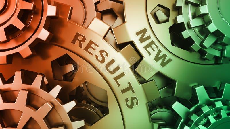 Resultados novos nas engrenagens do metal - conceito da mensagem do negócio Treinamento e desenvolvimento no mecanismo das engren imagens de stock royalty free