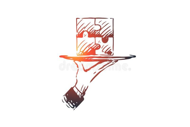 Resultados, rompecabezas, conexión, solución, concepto del trabajo en equipo Vector aislado dibujado mano libre illustration