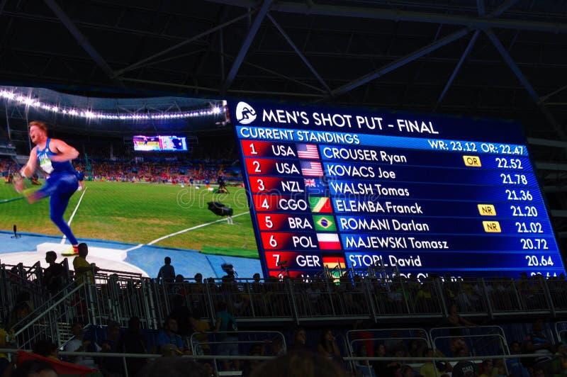 Resultat av kortslutningen för man` s satte finaler på Rio2016 arkivbild