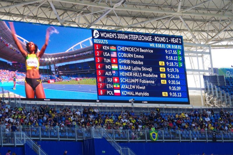 Resultat med namn av värme 2 för hinderlöpning för 3000m kvinna` s på Rio2016 arkivfoto